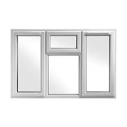 70mm White Casement Window 2 side openers 1 top opener