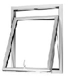 70mm White Casement Window Top Opener Out